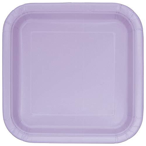 Unique Industries Lavender 31366/U Square Paper Plates, 14ct, 9' x 9'