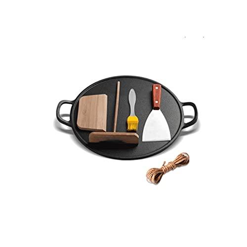 Lazxcnvbg sarten Wok, Cacerola de Hierro Fundido Antiguo, sartén, sartén no bastón sin Recubrimiento, sin Moho, Estufas de Gas adecuadas (32 * cm) Negro