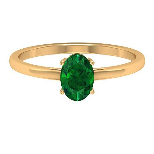 Rosec Jewels 10 quilates oro amarillo ovalada Green Emerald