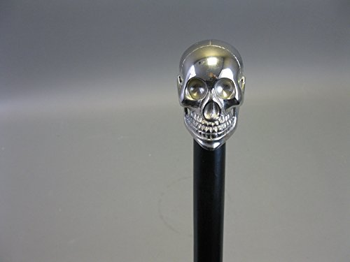 Holz Gehstock Spazierstock Wanderstock 93cm Skull Totenkopf mit Metall Griff Walking Stick M20