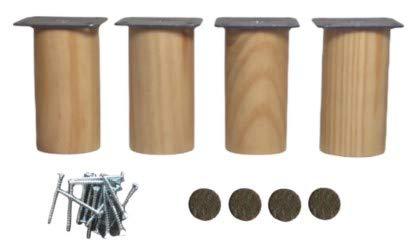 4 Patas de madera maciza para muebles 8 cm alto, con placa de montaje ya instalada piernas para muebles de baño,