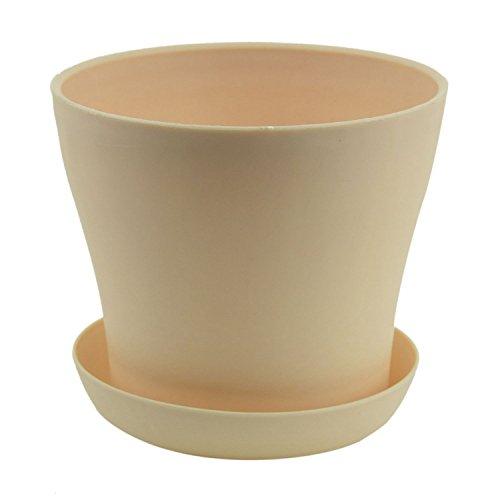 Fransande Plastic - Plantador de macetas con plato redondo y abrillantado, decoración de jardín, color beige de calibre superior – 14 cm