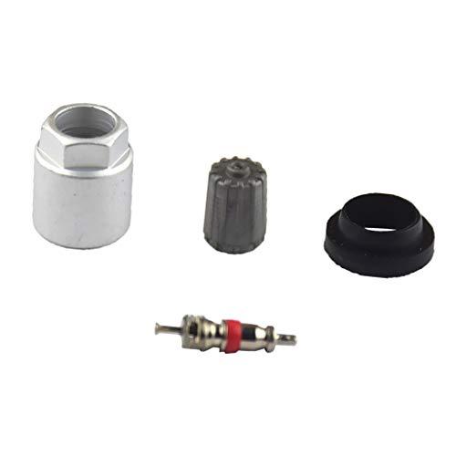 DUNGOKU- 4Pcs Car Wheel Tpms Metal Sensor Rebuild Kit Nut Valve Core Cap Gasket Kits Tire Pressure Sensor Valve Kit