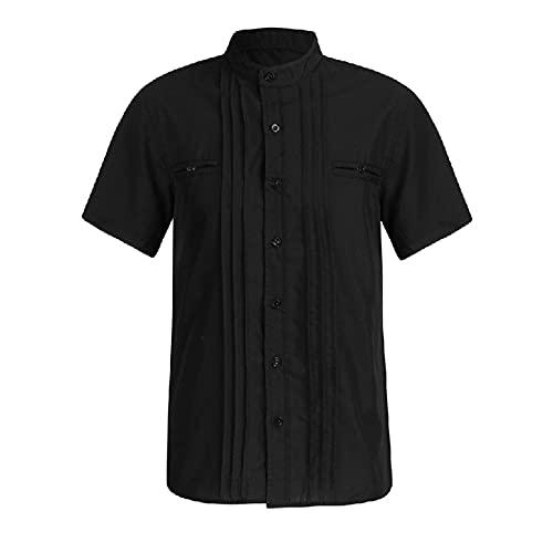 SSBZYES Camisas para Hombre Camisas De Manga Corta para Hombre De Verano Camisas De Manga Corta Ajustadas Informales De Color Sólido con Costura De Doble Capa De Moda para Hombre