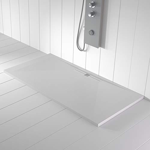 Piatto doccia bianco in Marmoresina, scarico laterale, superficie ad effetto pietra ardesia, serie Nizza, slim 3 cm, rivestito di Gelcoat, antiscivolo
