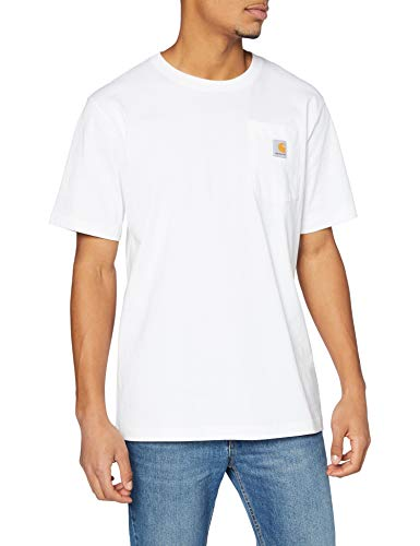 Carhartt Pocket Short-Sleeve T-Shirt Camiseta, White, L para Hombre