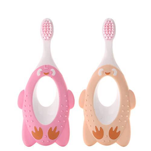 TrifyCore 2 brosses à dents à tête souple pour le soin dentaire des bébés et des enfants Rose et jaune