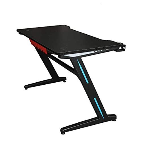 Office Life - Mesa de juegos para computadora de escritorio para una sola persona, diseño de fibra de carbono, control remoto, color negro, tamaño: 120 cm a 120 cm