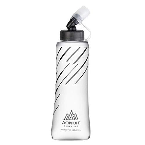 sharprepublic Botella de Agua de Matraz Suave Plegable para Paquete de Hidratación, Bolsa de Agua Potable para Deportes Al Aire Libre, Apretón para Gimnasio en Casa - 420ml Gris