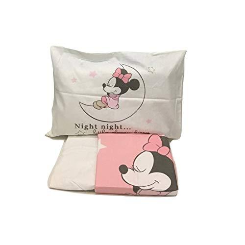 completo lettino lenzuola per culla Minnie Mickey DISNEY 100% cotone (minnie luna)