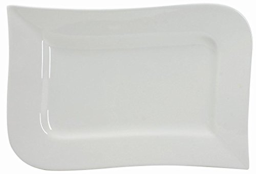 Unbekannt Ambition Micro-Ondes Assiette Rectangulaire 36 cm, Porcelaine, Blanc, 36 x 23,5 x 2,5 cm
