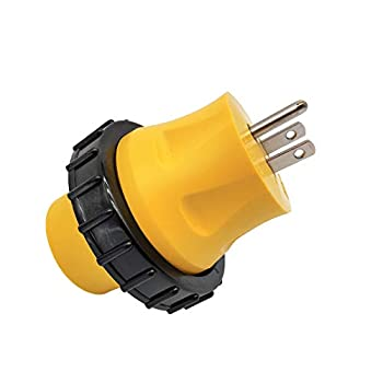 Parkworld 691685 Shore Power Adapter Household 15A 5-15 Plug to RV Twist Lock 30A Socket L5-30 Receptacle with Locking Ring  Adapter