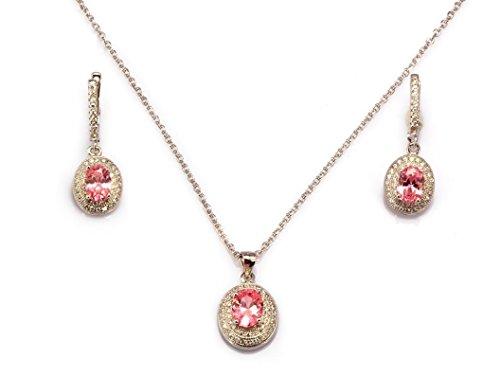Plata de ley chapado en platino con creado rosa y blanco diamante Neckace y pendientes Set