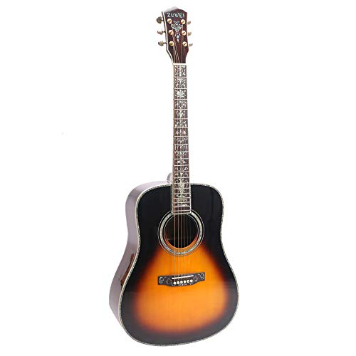 ZUWEI 41in Handmade Acoustic Guitar Solid Spruce Top, Rosewood Backside Real Abalone Inlay, Grover Tuner Lower Action Bone Nut& Saddle Free Hardcase Gloss Finish Gold Hardware VS