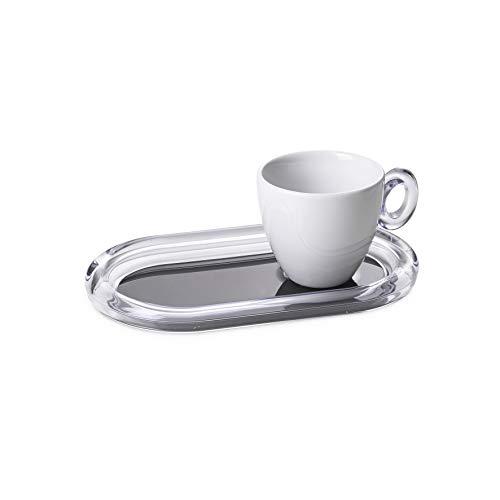 Omada Design Tazza da Tè in Porcellana con Vassoio in plastica Porta Biscotti o Bustine da Tè, Made in Italy, Lavabile in Lavastoviglie, Linea Crystal, Nero