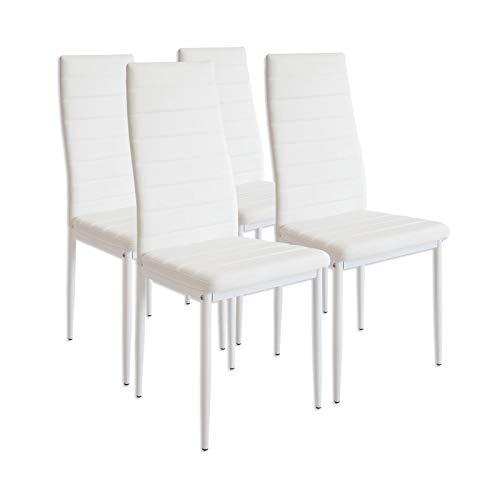 Albatros 2552 MILANO Set de 4 sillas de comedor, blanco 🔥