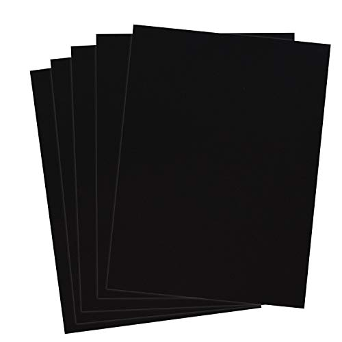 Rozzy Crafts - Black Flock Heat Transfer Vinyl (HTV) - Flocked - 5 Sheets Each 12 inches by 10 inches - Works with Cricut, Silhouette, and All Other Cutting Machines