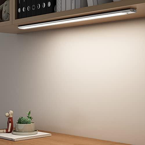 SOAIY Luz bajo mueble cocina con sensor movimiento de la mano, Iluminacion ajustable led cocina bajo mueble, luz cocina bajo armario para Armario, Cocina (60CM Sensor movimiento de la mano)