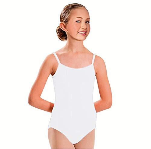 Furein Maillot de Danza Ballet Gimnasia Leotardo Body Clásico Elástico para Niña con Tirantes Cuello Redondo (01052 Blanco, 4 años)