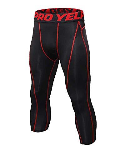 Yanlian 3/4 Pantalones de Forro Polar para Hombres Mallas Deportivas Leggings Largos Bolsillo Elástico Transpirable Training Running Fitness