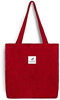 MYSdd Frauen Cord Einkaufstasche Weibliche Leinwand Stoff Umhängetasche Umweltspeicher Handtasche Wiederverwendbare Faltbare Öko-Lebensmittel-Totes - Bordeaux Rot