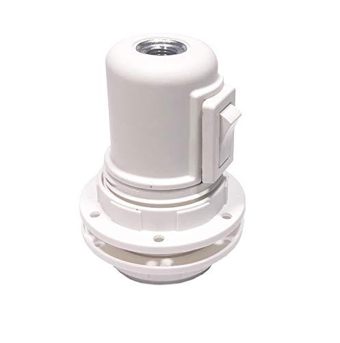 Portalámparas E27 con arandelas e interruptor blanco - Accesorios para lámparas