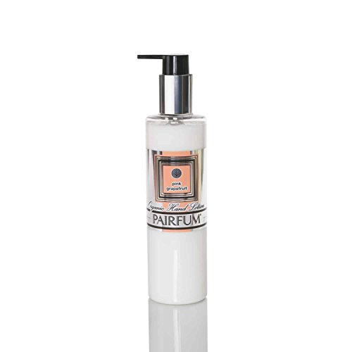 Crème pour les mains Bio – by PAIRFUM London - Riche en huiles essentielles bio/naturelles - Senteur : Pamplemousse Rose - Idéal pour les peaux sèches ou sensibles