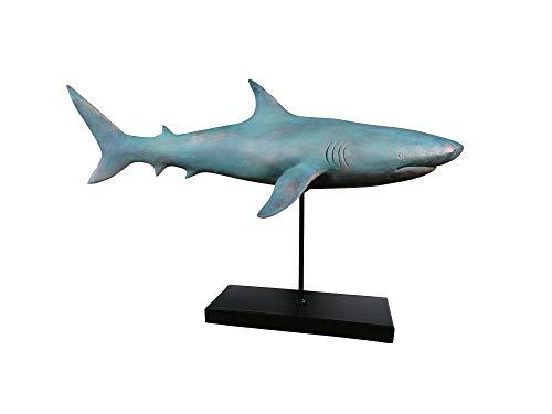 MichaelNoll Hai Haifisch Fisch Dekofigur Statue Skulptur Polyresin Modern - Maritime Deko in Holz-Optik Grün - XXL 59x24x38,5 cm