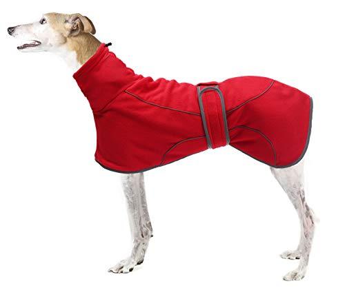 Geyecete - Cappotto invernale in pile per cani con fodera calda, abbigliamento per cani da esterni, con fasce regolabili, taglia M, taglia M, rosso levriero XL