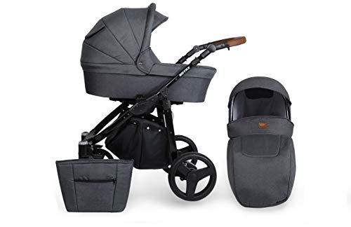 Kunert cochecito de bebé ROTAX silla de paseo silla de coche asiento de bebé juego completo 2 en 1 (Grafito, Color del marco: Negro, 2en1)