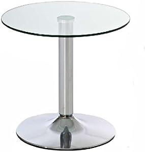 CLP Tavolino Tondo in Vetro IKARUS – Tavolino da Appoggio con Telaio in Metallo Cromato I Tavolo in Vetro di Sicurezza Ø 50 cm, Altezza 48 cm I Tavolino Soggiorno Moderno in Vetro Vetro Chiaro
