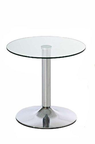 CLP Beistelltisch IKARUS mit Einer runden Tischplatte aus Sicherheitsglas I Stehtisch mit Metallgestell in Chrom-Optik klarglas