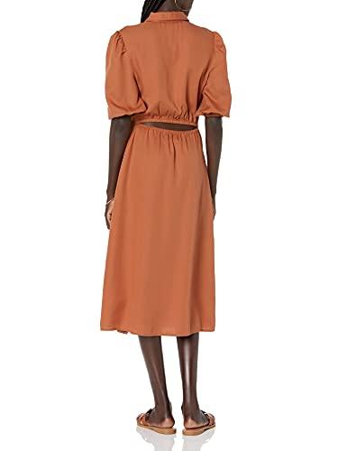 The Drop Ellen Vestido Camisero Midi con Espalda Abierta Y Mangas Abullonadas Dress Shirt Mujer