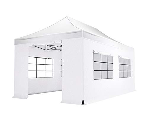 Reke Tonnelle Pliable/Gazebo/Barnum/Tente de réception/chapiteau 3x6m Blanc imperméable de Jardin de soirée et événement + toiture 700D + parois latérales 700D + Sac de Stockage + kit d'ancrage