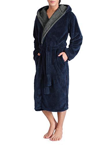 DAVID ARCHY Men's Hooded Fleece Plush Soft Shu Velveteen Robe Full Length Long Bathrobe (L, Navy Blue)