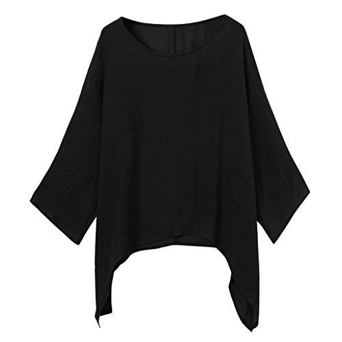 VEMOW Camiseta Mujer Pullover Señoras Casual Talla Extra Suelto Cuello Redondo Manga Larga Algodón Lino Color Sólido Tops Camisa Blusa Otoño Invierno(Negro,4XL)