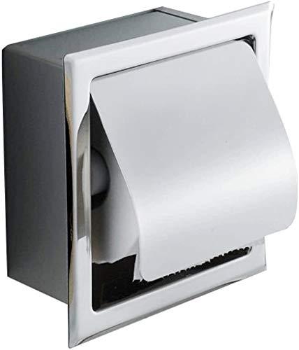Risingmed, porta carta igienica, in acciaio inox, impermeabile, da incasso a parete, con finitura cromata, con copertura per il rotolo di carta, dispenser, antiruggine, portarotolo