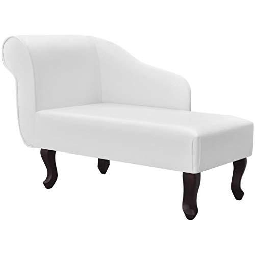 UnfadeMemory Chaiselongue Kunstleder Chaise Longue Sofa Wohnzimmer Relaxliege Holzrahmen und Kunstlederbezug Loungesessel für Wohn- oder Schlafzimmer (Weiß)