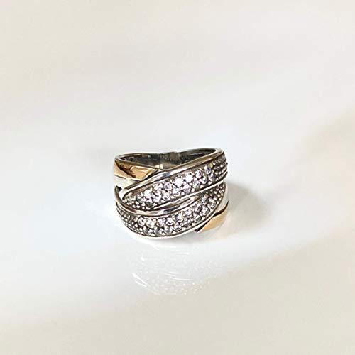 Grazia P. Bicolor Damen Ring 585er Gelbgold und Sterling Silber mit Micro Pave Zirkonia, Bimetall, Handgefertigt