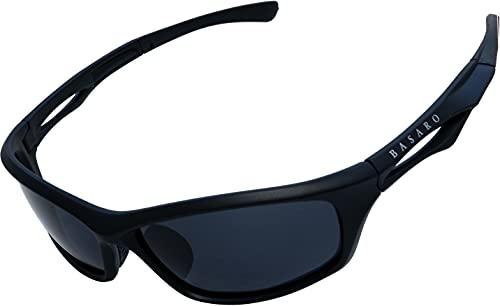 BASARO エアレガート 偏光サングラス スポーツサングラス メンズ レディース Bas-psg02 メガネケース ソフトケース (ブラックブラック)