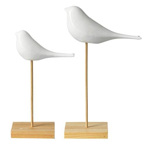 Leonardo Primavera, Set di Soprammobili, 2 Pezzi, Uccello su un Ramo, Porcellana, Bianco, 014718