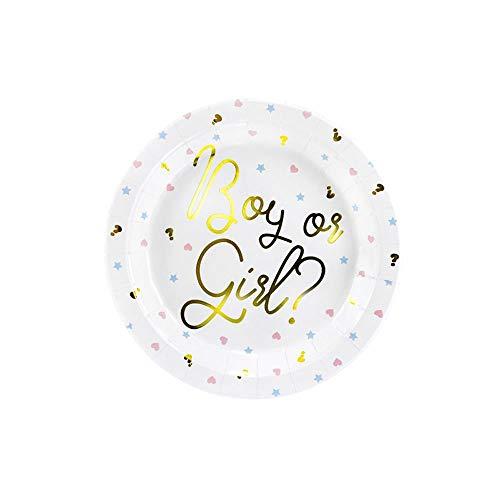 PartyDeco- Conf. 6 Assiettes en Carton 23 cm avec Inscription Boy Or Girl pour Gender Reveal Party, Couleur, TPP44