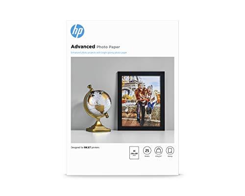 HP Carta Fotografica Lucida HP Advanced Q5456A, Grammatura 250g/m2, Formato A4, Confezione da 25 Fogli
