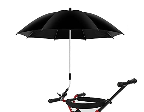 Baby Pram Parasol with Adjustable Clamp,Clip on Buggy Umbrella,Fixing Device UPF 50+ Great for Pushchair,Strollers(Black)