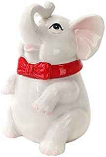 PACIFIC GIFTWARE Elephant Cookie Jar Ceramic Cute Kitchen Accessory, White