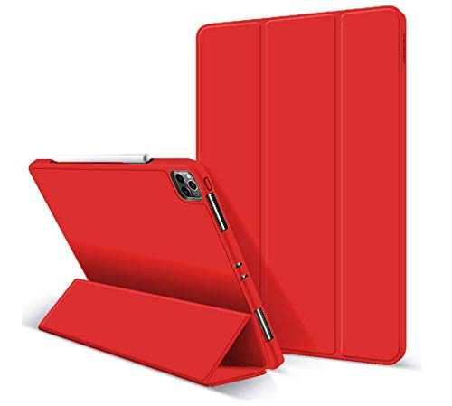 ZryXal iPad Pro 11 Case 2020 with Pencil Holder (2nd Generation), Premium Protective Case Cover with Soft TPU Back and Auto Sleep/Wake Feature for 2020/2018 iPad Pro 11 (Red)
