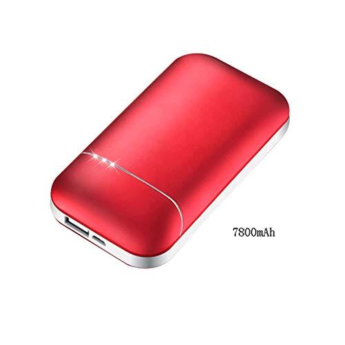 Wiederaufladbarer Handwärmer, USB-Energiebank für alle Smartphones Elektrischer Handwärmer doppelseitig Wiederverwendbare Taschenheizung (Farbe : Red, größe : 7800mAh)