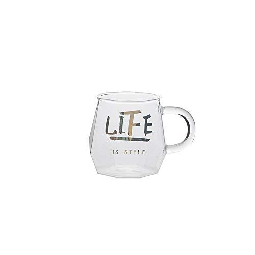 Kreative geometrische Glastasse mit vergoldetem Buchstabengriff, für Kaffee, Milch, Tee, Wein, Zuhause, Getränke, Paare, Geschenk, 300 ml, 1 Stück
