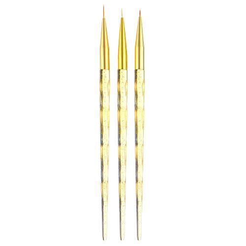 3 Stücke Dünn Fineliner Pinsel Malstifte für UV Gel Polish Nail Art Zeichnung Detaillierung Liner - Gelb