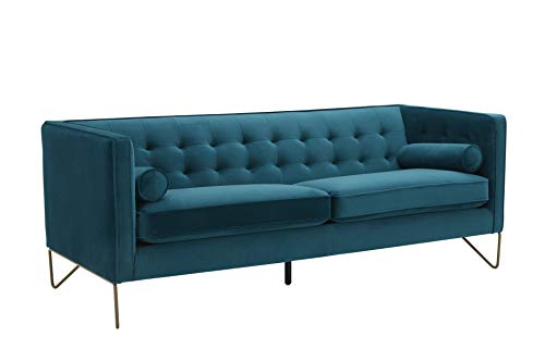 """Amazon Brand – Rivet Brooke Contemporary Mid-Century Modern Tufted Velvet Sofa Couch, 82""""W, Teal"""